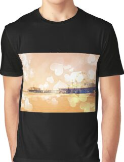 Bokeh Hearts Santa Monica Pier Graphic T-Shirt