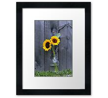 Sun Flowers Yellow Flowers in Glass Jug Framed Print