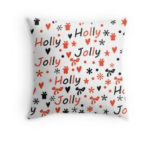Christmas background with Holly Jolly lettering Throw Pillow