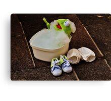 Kermit having a bath Canvas Print