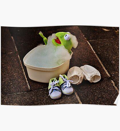 Kermit having a bath Poster