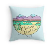Nature Rules mountains camping patagonia outdoors wanderlust print Throw Pillow