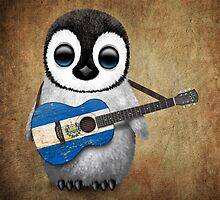 Baby Penguin Playing El Salvador Flag Guitar by Jeff Bartels