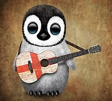 Baby Penguin Playing English Flag Guitar by Jeff Bartels