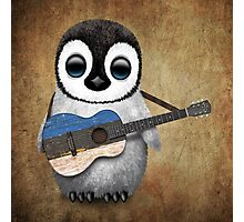 Baby Penguin Playing Estonian Flag Guitar Photographic Print