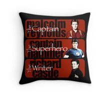 The Captain, The Superhero, and The Writer Throw Pillow