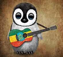 Baby Penguin Playing Ethiopian Flag Guitar by Jeff Bartels