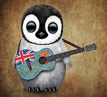 Baby Penguin Playing Fiji Flag Guitar by Jeff Bartels