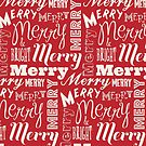 Red And White Merry Christmas Text Pattern by artonwear