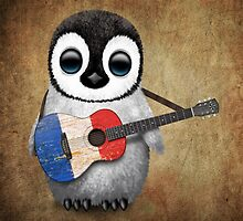 Baby Penguin Playing French Flag Guitar by Jeff Bartels