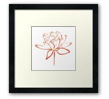 Lotus Flower Calligraphy (Orange) Framed Print