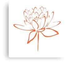 Lotus Flower Calligraphy (Orange) Canvas Print