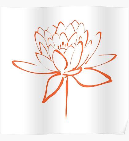 Lotus Flower Calligraphy (Orange) Poster