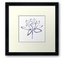 Lotus Flower Calligraphy (Blue) Framed Print