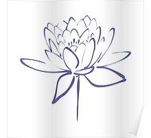 Lotus Flower Calligraphy (Blue) Poster