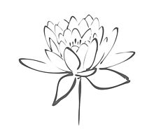 Lotus Flower Calligraphy (Smoke Grey) Photographic Print