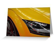 Yellow car detail of headlight Greeting Card