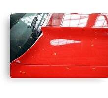 Red car detail of windscreen and hood Canvas Print