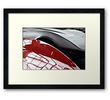 Detail of two curved shiny car hoods. Framed Print