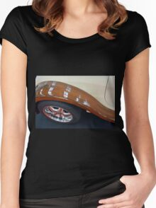 Detail of wooden car and tyre Women's Fitted Scoop T-Shirt