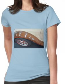 Detail of wooden car and tyre Womens Fitted T-Shirt