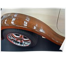Detail of wooden car and tyre Poster
