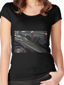 Detail of classical green vintage car hood. Women's Fitted Scoop T-Shirt
