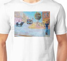 Belted Galloway Cow in City Painting - Going to Town Unisex T-Shirt