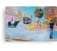 Belted Galloway Cow in City Painting - Going to Town Canvas Print