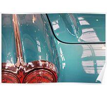 Beautiful blue shiny classic car hood and headlight Poster