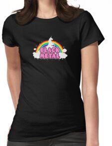 Black Metal Unicorn Rainbow Womens Fitted T-Shirt