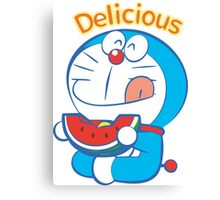 Doraemon Delicious Watermelon Canvas Print