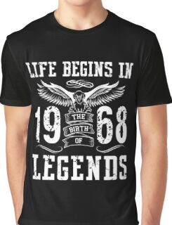 Life Begins In 1968 Birth Legends Graphic T-Shirt