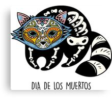 Raccoon Day of the Dead Canvas Print