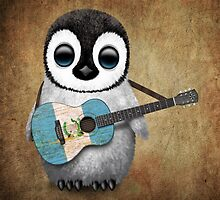 Baby Penguin Playing Guatemalan Flag Guitar by Jeff Bartels
