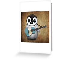 Baby Penguin Playing Guatemalan Flag Guitar Greeting Card