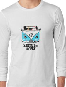 VW Camper Santa Father Christmas On Way Bright Blue Long Sleeve T-Shirt