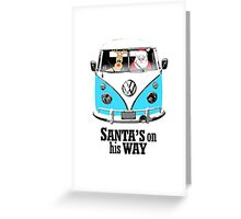 VW Camper Santa Father Christmas On Way Bright Blue Greeting Card
