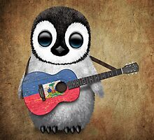 Baby Penguin Playing Haitian Flag Guitar by Jeff Bartels