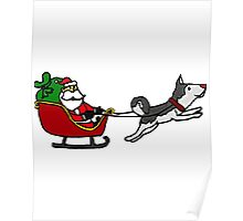 Cool Funny Christmas Art with Santa Sleigh and Husky Poster
