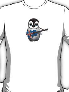 Baby Penguin Playing Icelandic Flag Guitar T-Shirt