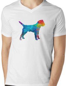 Border Terrier in watercolor Mens V-Neck T-Shirt