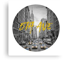 Graphic Art NYC 5th Avenue Yellow Cabs Canvas Print