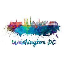 Washington DC V2 skyline in watercolor Photographic Print