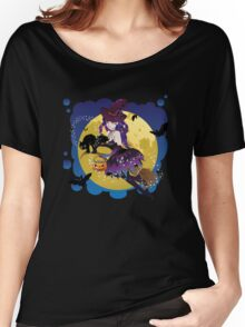 Cute Witch and Full Moon Women's Relaxed Fit T-Shirt