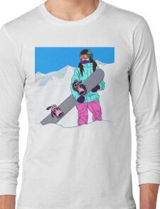 Snowboarder girl in mountain Long Sleeve T-Shirt