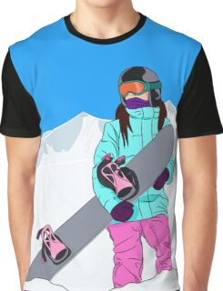 Snowboarder girl in mountain Graphic T-Shirt