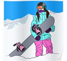Snowboarder girl in mountain Poster