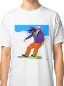 Snowboarder girl in mountain Classic T-Shirt