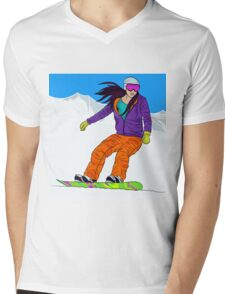 Snowboarder girl in mountain Mens V-Neck T-Shirt